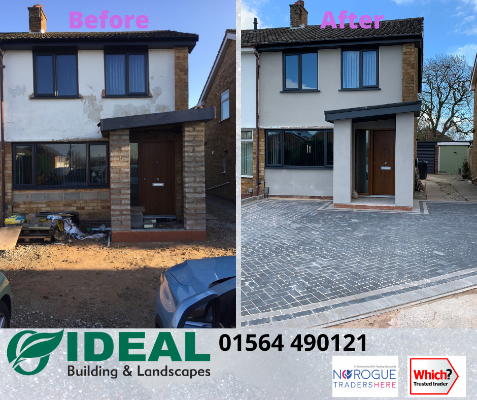 Before and after block paving driveway kings norton