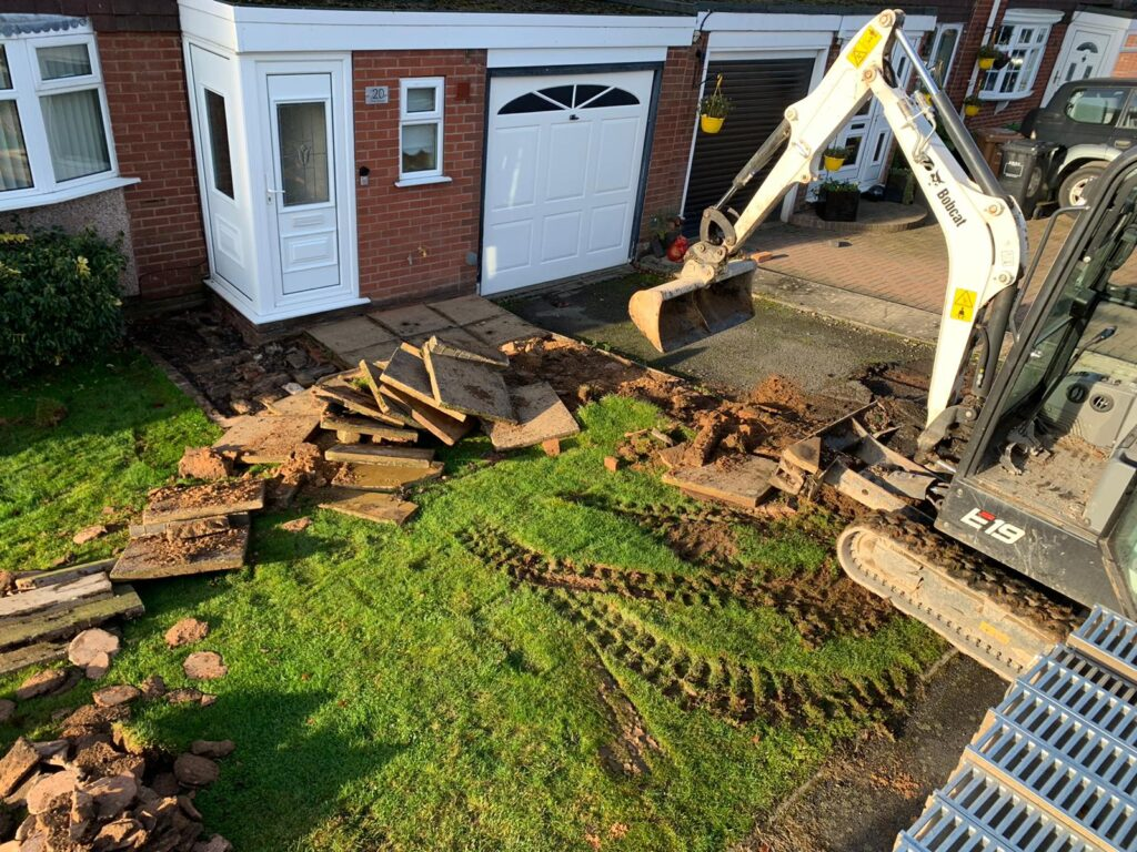 Digging out driveway for block paving