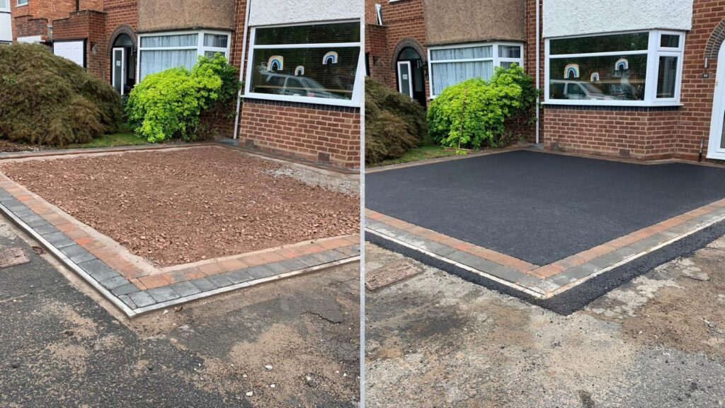 Before and after Tarmac driveway