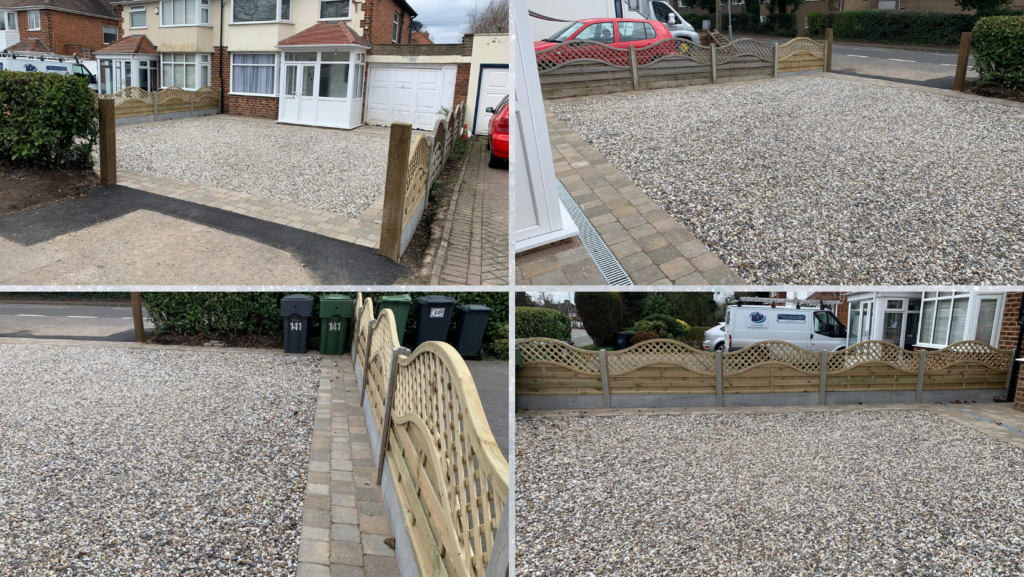 new gravel driveway with block paving border
