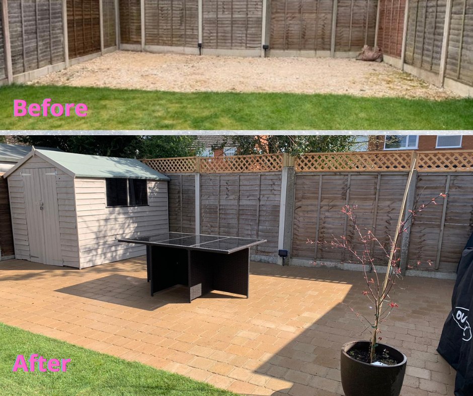 before and after of new patio in Wythall