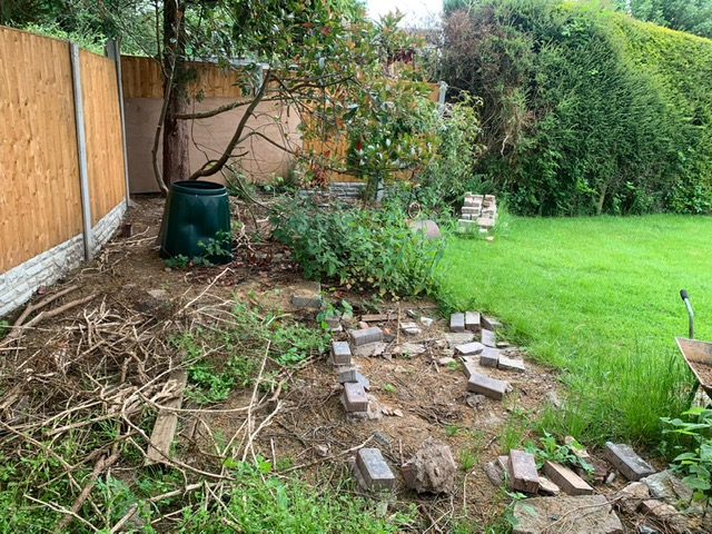 before photo of garden project in Wythall