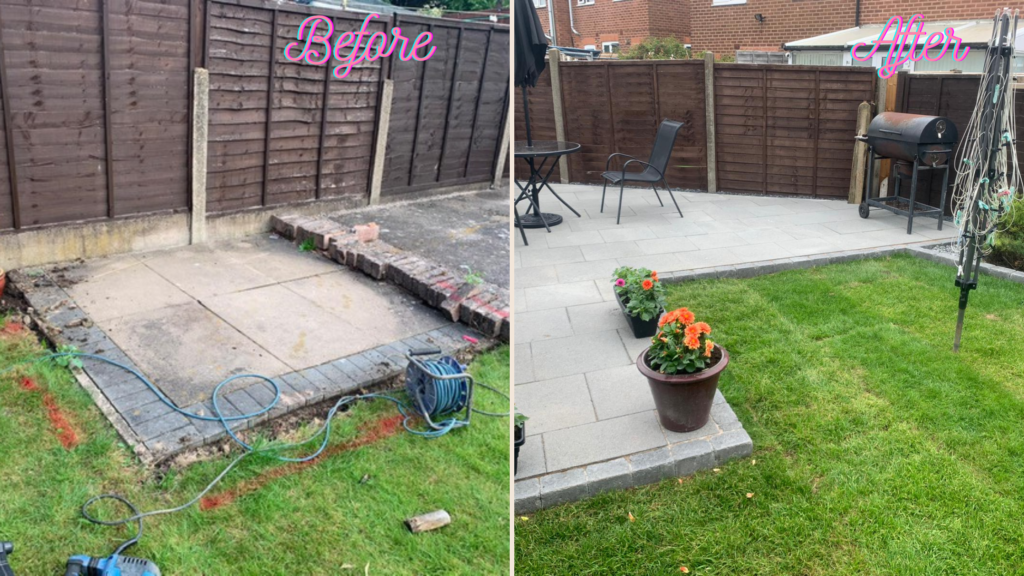 Before and after driveway and patio transformation