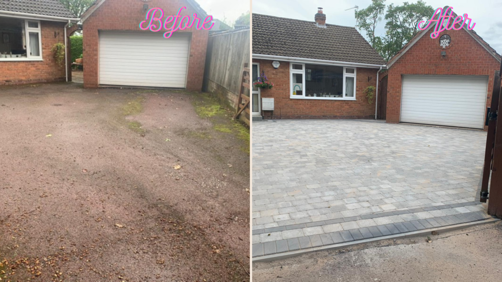 before and after of block paving driveway