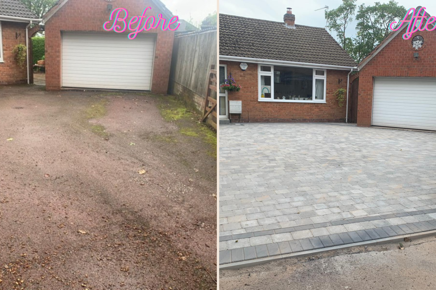 before and after block paving