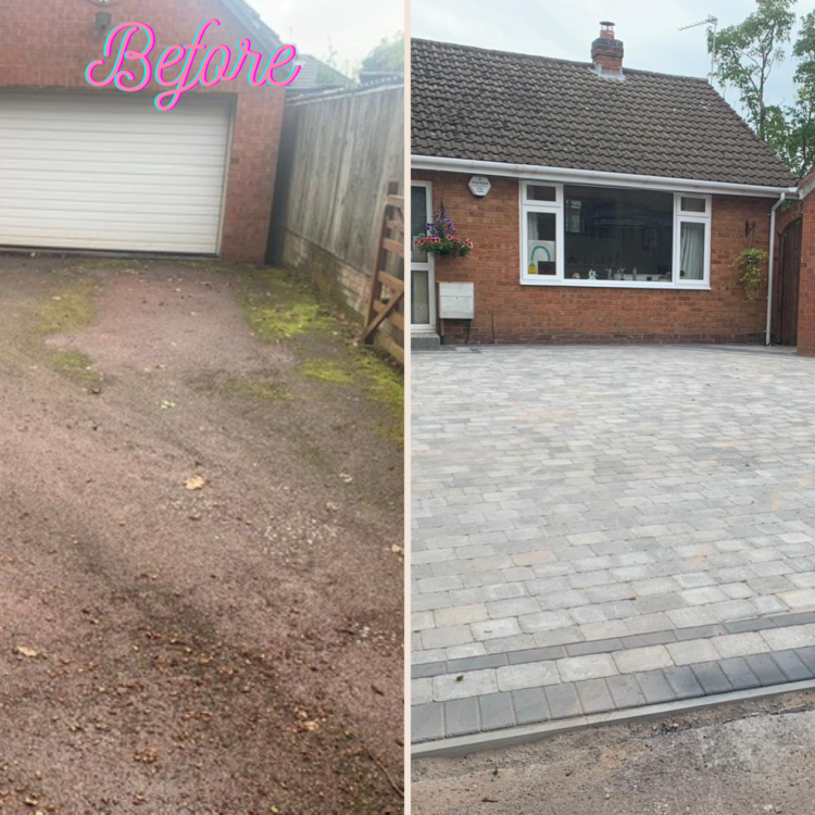 Block Paving before and after in Shirley