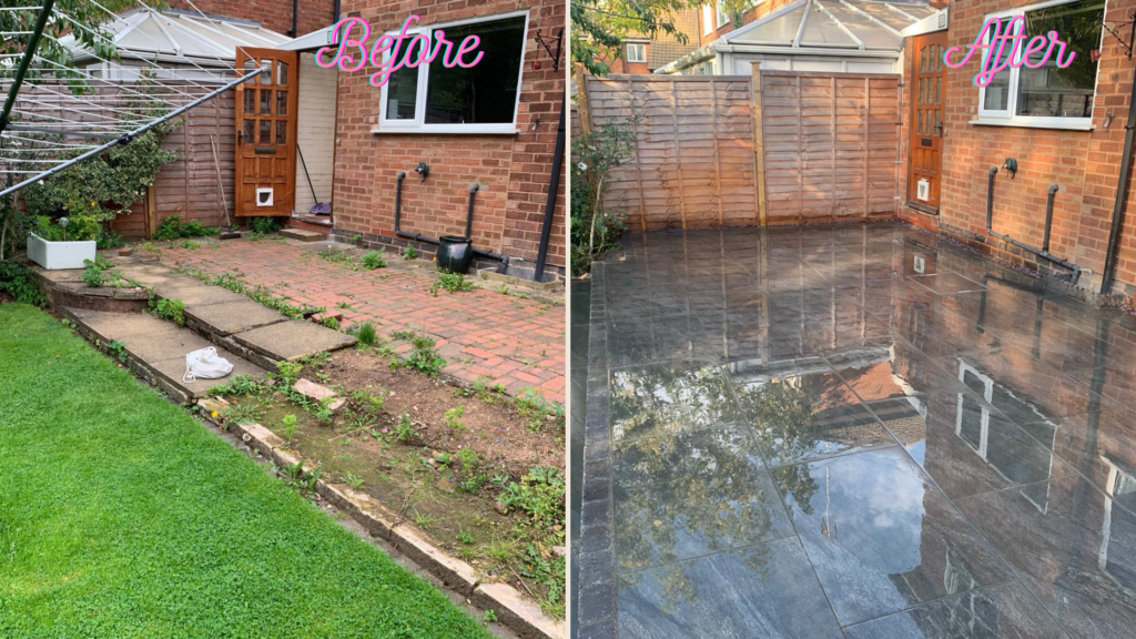Before and after of a porcelain patio in Shirley. Solihull