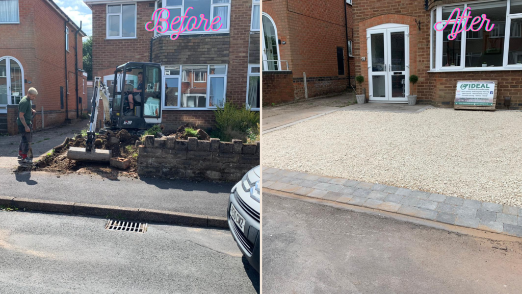 Before and after gravel driveway with block border